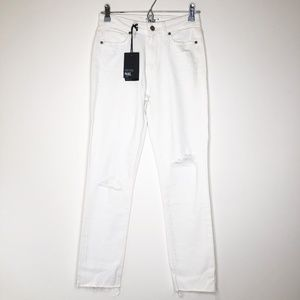 PAIGE Hoxton High Waist Ripped Ankle Jeans
